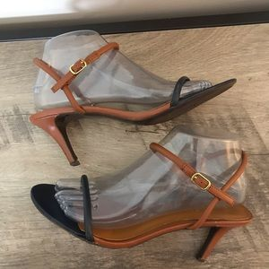 POLO Ralph Lauren BROWN NAVY Leather STRAPPY HEELS